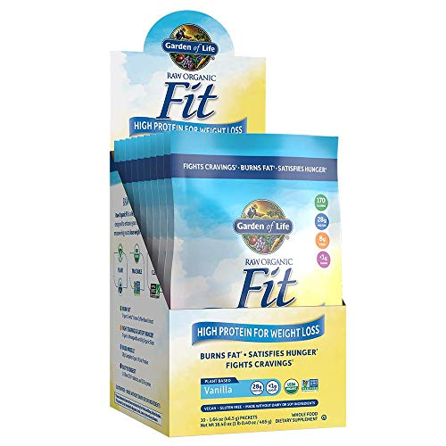 Garden of Life Raw Organic Fit Powder, Vanilla - High Protein for Weight Loss (28g) plus Fiber & Probiotics, Organic & Non-GMO Vegan Nutritional Shake, Packets (10 Count Tray)