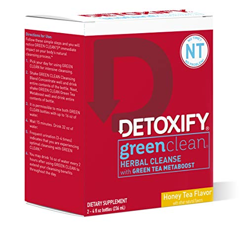 Detoxify Green Clean Herbal Cleanse - Honey Tea Flavor– (2) x 4oz bottles | Professionally Formulated Professionally Herbal Detox Drink | Enhanced with Burdock Root Extract & Green Tea Metaboost