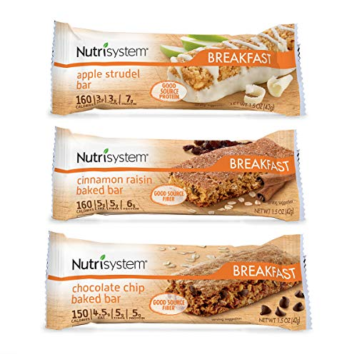 Nutrisystem Breakfast Bar Variety Bundle, 12 ct, Meal Replacement Bars for Weight Loss
