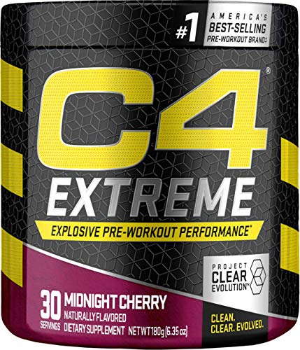 C4 Extreme Pre Workout Powder Midnight Cherry | Sugar Free Preworkout Energy Supplement for Men & Women | 200mg Caffeine + Beta Alanine + Creatine | 30 Servings