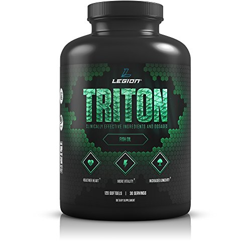 Legion Athletics Triton Fish Oil Capsules - Triple Strength Omega 3 Essential Fatty Acids with Vitamin E & Lemon Oil for Maximum Absorption, Freshness & Purity - 2400mg EPA & DHA Per Serving, 30 Svgs