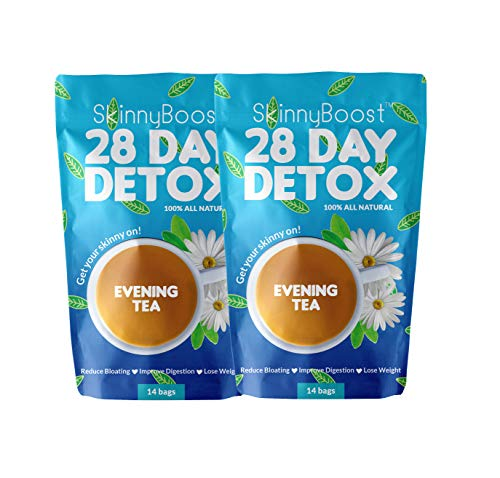 (2 Pack) Skinny Boost 28 Day Detox Evening Tea (28 Tea Bags Total) Detox and Cleanse Naturally. Reduce Your Bloating, Increase Energy. 100% Natural, Vegan, Gluten Free, NON GMO