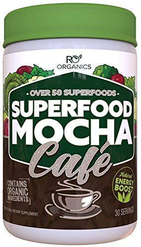 Super Greens Powder | Mocha Chocolate | Whole Foods Supplement | Real Superfoods, Fruit & Vegetables Including Organic Spirulina, Broccoli, Spinach, Maca, Kelp, Milk Thistle & More.