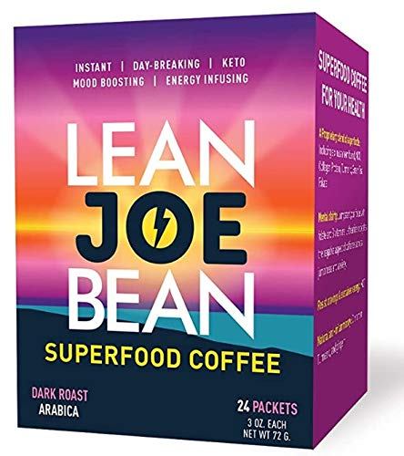Lean Joe Bean Superfood Coffee | Organic Instant Keto Coffee with Mushrooms, MCT, Collagen, Turmeric, Probiotics & Folate | Mood & Energy Boosting Happy Coffee Backed by Science (24 Count)