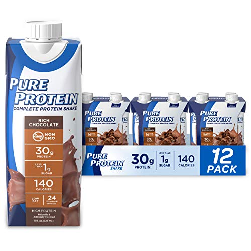 Pure Protein, Complete Protein Ready to Drink Chocolate Shake, 30g Whey Protein, Snack, With Vitamin A, Vitamin C, Vitamin D, and Zinc to Support Immune Health, 11oz, Pack of 12