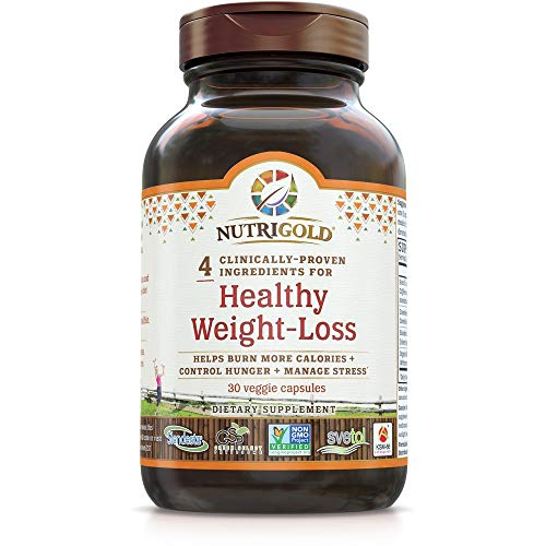 NutriGold Healthy Weight-Loss Gold Supplement with Clinically-Proven, Multi-Patented Ingredients, 30 Veggie Capsules