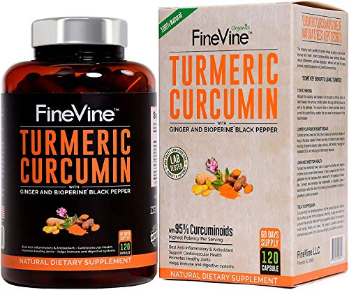 Turmeric Curcumin with BioPerine Black Pepper and Ginger - Made in USA - 120 Vegetarian Capsules for Advanced Absorption, Cardiovascular Health, Joints Support and Anti Aging Supplement