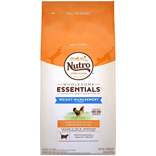 NUTRO WHOLESOME ESSENTIALS Adult Weight Management Natural Dry Cat Food for Weight Control Farm-Raised Chicken & Brown Rice Recipe, 6.5 lb. Bag