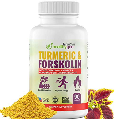 Turmeric & Forskolin Pills High Potency Non-GMO 90 Capsules - Curcumin C3 Complex + Pure Forskolin Extract - Metabolism & Immunity Booster