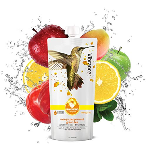 LEMONKIND Alphonso Mango with Peppermint and Organic Green Tea 50% Polyphenols, Superfood Cleanse Juice – Energy & Immune Defense, Vibrance (12oz, Pack of 10)