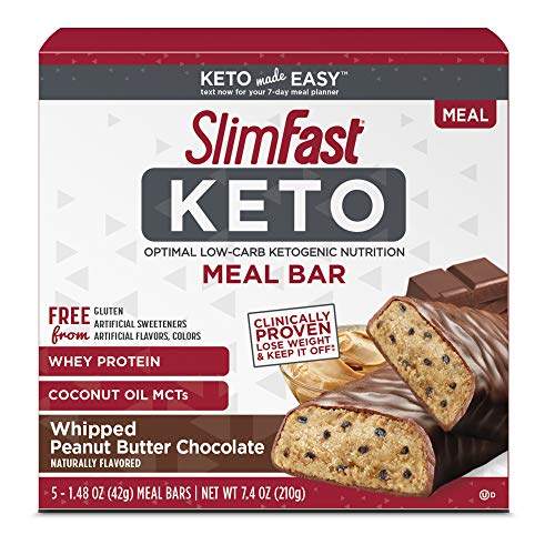 SlimFast Keto Meal Replacement Bar, Whipped Peanut Butter Chocolate, 5 Count