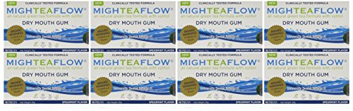 MighTeaFlow Dry Mouth Gum with Xylitol - Spearmint - Case of 80 Pieces - Naturally Stimulates Own Saliva, Promotes Oral Health & Freshens Breath