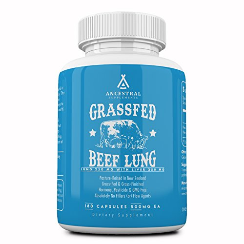 Ancestral Supplements Beef Lung (with Liver) — Supports Lung, Respiratory, Vascular, Circulatory Health (180 Capsules)