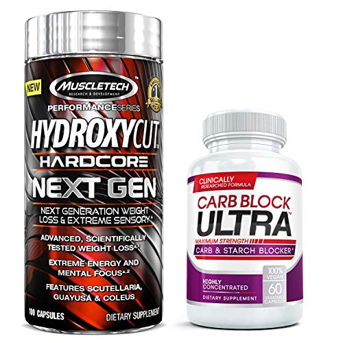 Hydroxycut Hardcore Next Gen (100 Caps) Thermogenic Fat Burner Bundled with Carb Block Ultra (60 Caps) - The Ultimate Diet & Weight Loss Duo | Burn Fat, Boost Energy and Mental Focus to Fight Fatigue