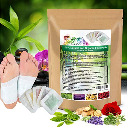 50 Premium 2-in-1 Foot Pads | Concentrated Formula | for Foot Care, Pain Relief, Relaxation, General Well-Being | 5 Special Blends | by Shaman's Brew