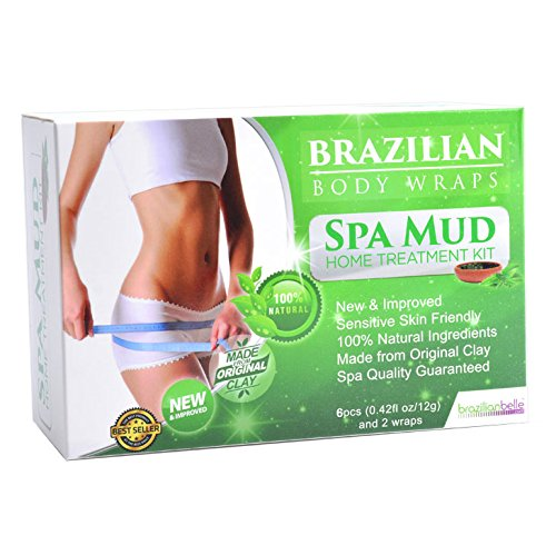 Brazilian Belle Detox Body Wrap [8-Piece] Slimming Home Spa Treatment for Cellulite, Weight Loss, Stretch Marks   Natural, Purifying Detoxifier for Smooth, Toned Skin