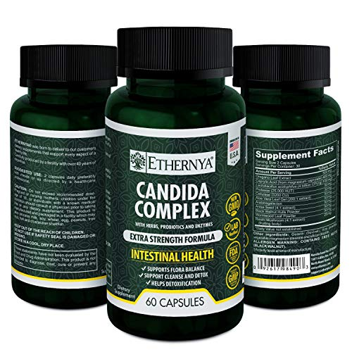 Candida Cleanse | With Herbs, Probiotics and Enzymes | Extra Strength Formula | Intestinal Health | Supports Flora Balance and Detoxification | Ethernya