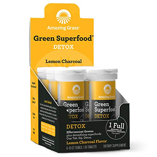 Amazing Grass Effervescent Detox Tablets: Water Flavoring Tablet with Detoxifying Greens & Antioxidants, Lemon Charcoal, 60 Count