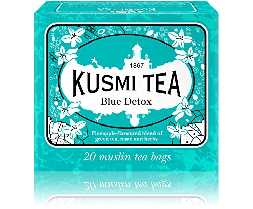 Kusmi Tea - Blue Detox - A Blend of Green Tea, Mate, and Rooibos with Savory Pineapple - All Natural, Sugar Free, Preservative Free, Loose Leaf Green Tea Blend in 20 Muslin Tea Bags (20 Servings)