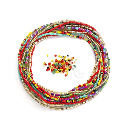 Waist Beads for Weight Loss Stretchy African Waist Beads for Women Plus Size with String and Charms (Set 1)