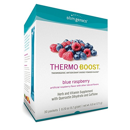 SlimGenics Thermo-Boost  | Thermogenic Powder Energy Drink Mix – Antioxidant, Anti-Aging Properties - Metabolism Booster for Weight Loss - Fights Fatigue (Blue Raspberry Flavor) -30ct