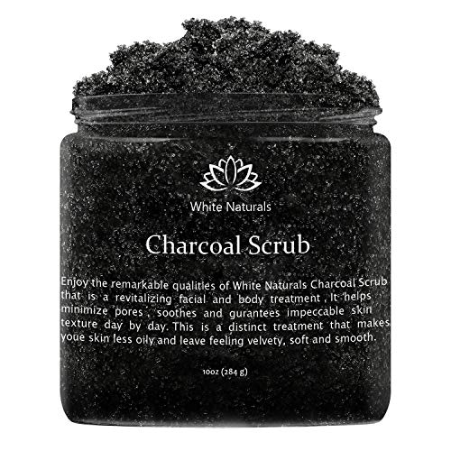 Activated Charcoal Scrub By White Naturals:Face & Body scrub, Reduces Wrinkles,Blackheads & Acne Scars,Natural Skin Care, Organic Pure Vegan Scrub Wash For Skin Exfoliation& Detox