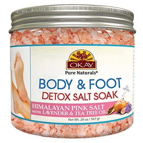Okay Himalayan Pink Salt Foot Soak With Lavender & Tea Tree Oil Soothing | Refreshing For All Skin Types Sulfate, Silicone & Paraben Free 20 Ounce