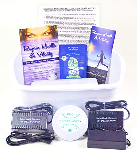 Ion Ionic Detox Foot Spa Cleanse Cell Chi Bath, Free Foot Basin and 2 Stronger Longer Lasting Rectangular Arrays