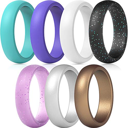 ThunderFit Silicone Rings, 7 Pack Wedding Bands for Women - 5.5 mm Wide (Teal Purple White Silver Bronze Black Pink Glitter, 4.5-5 (15.7mm))