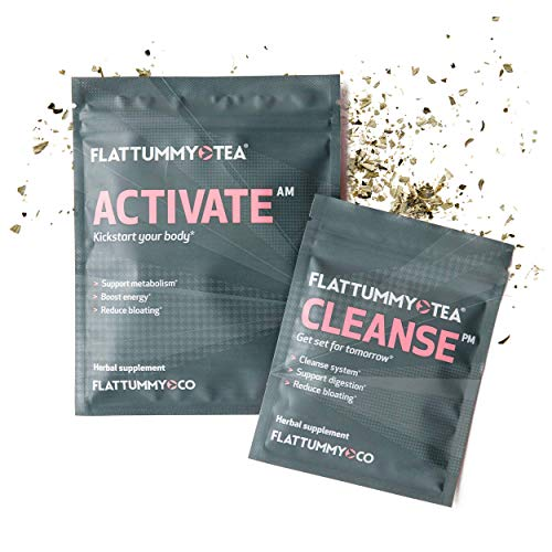 Flat Tummy Tea | All-Natural Detox Tea to Help with Bloating, Maintain Immune System and Boost Energy - 2 Step Metabolism Boosting Teatox System (14 Day Cleanse)
