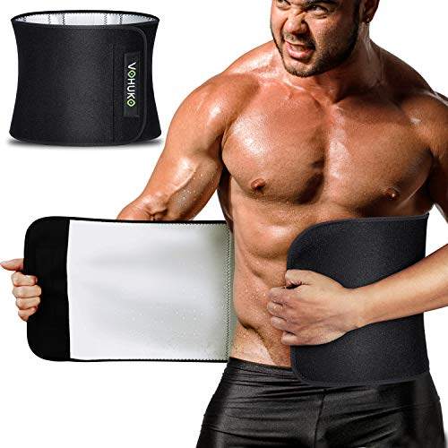 VOHUKO Waist Trimmer for Men,Widening Sweat Belt for Weight Loss,Improving Material Waist Trainer with Flexible Back Support for Fitness (XL /37-49inch)