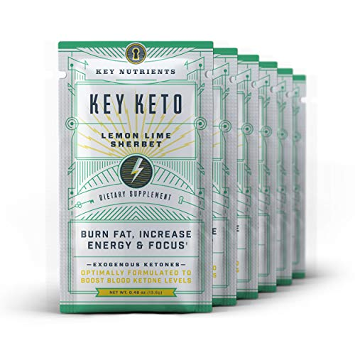 Exogenous Ketone Supplement, Key Keto: Patented BHB Salts (Beta-Hydroxybutyrate) - Formulated for Ketosis, to Burn Fat, Increase Energy and Focus, Supports a Keto Diet. 6 Keto Packets -Lemon Lime