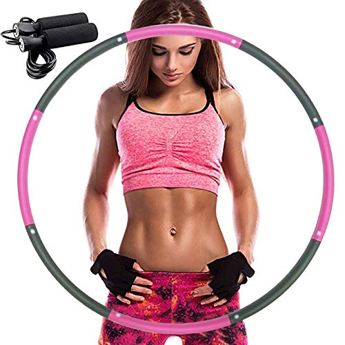 REDSEASONS Hula Hoop for Adults,Lose Weight Fast by Fun Way to Workout,Easy to Spin, Premium Quality and Soft Padding Hula Hoop,with Free Accessory Skipping Rope(Pink)