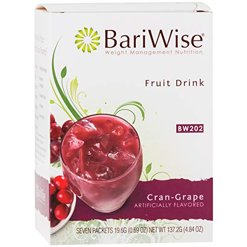 BariWise High Protein Powder Fruit Drink (15g Protein) / Low-Carb Diet Drinks - Cran-Grape (7 Servings/Box) - Fat Free, Low Carb, Low Calorie, Sugar Free