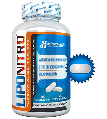 LipoNitro Maximum Strength Thermo-Burn Diet Pills with Nitro Energy - Scientifically Researched Ingredients - Highest Quality Dietary Supplement Manufactured in USA - 120 Tablets