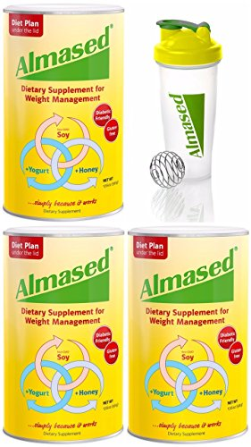 Almased HIGH-QUALITY NON-GMO SOY+YOGURT+HONEY Protein Powder, Supports Weight Loss, Optimal Health and Maximum Energy, 17.6 Ounces 3-PACK WITH FREE BLENDER BOTTLE