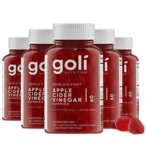 World's First Apple Cider Vinegar Gummy Vitamins by Goli Nutrition - Immunity, Detox & Weight (5 Pack, 300 Count, with The Mother, Gluten-Free, Vegan, Vitamin B9, B12, Beetroot, Pomegranate)
