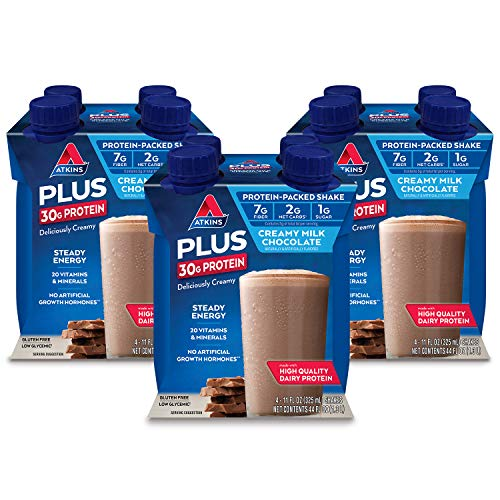 Atkins PLUS Protein-Packed Shake. Creamy Milk Chocolate with 30 Grams of High-Quality Protein. Keto-Friendly and Gluten Free. (12 Shakes)