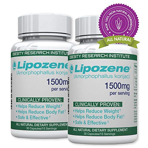 Lipozene Green Diet Pills - All Natural Weight Loss Supplement - Appetite Suppressant and Control - Two Bottles 30 Veggie Capsules - No Stimulants, No Jitters