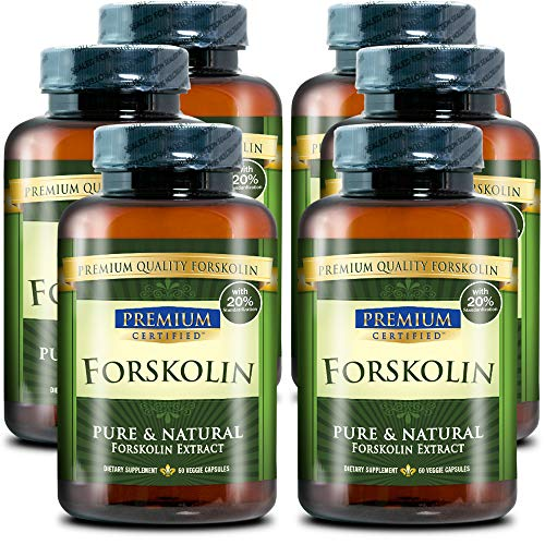 100% Pure Forskolin Premium Extract - 20% Coleus Forskohlii - Natural Weight Loss, Fat Burner and Belly Buster - 360 Veg Capsules (6 Months Supply)