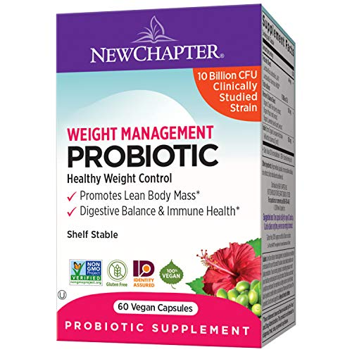New Chapter Weight Management Probiotic, 60ct (2 Month Supply), Probiotics for Men & Women with Prebiotics and Probiotics + 100% Vegan + Soy Free + Non-GMO