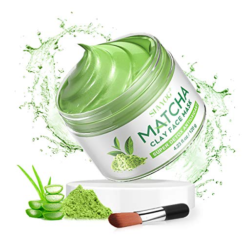 SHVYOG Green Tea Matcha Clay Face Mask, Skin Care Antioxidant Detox Face Mask with Volcanic Mud, Deep Cleansing & Moisturizing & Hydrating Facial Mud Mask for Acne, Blackheads, Pores, Wrinkles