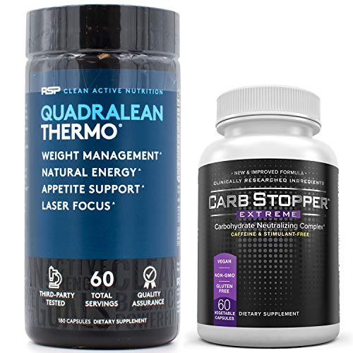 QuadraLean Thermo (60 Servings) Bundled with Carb Stopper Extreme (60 Caps) - Most Powerful Thermogenic Fat Burning Combination for Weight Loss | Keto Friendly Diet Supplements to Melt Away Belly Fat