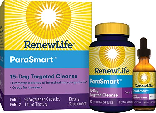 Renew Life Adult Cleanse - PARASmart, Microbial Cleanse - 2-Part,15-Day Program - Gluten, Dairy & Soy Free - 90 Vegetarian Capsules + 1 Fl. Oz. Tincture
