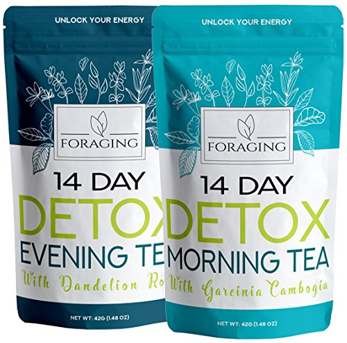 Foraging Detox Tea - 14 Day and Night Teatox - (28 Tea Bags) with Garcinia Cambogia & Dandelion Root for Weight Loss and Relaxing