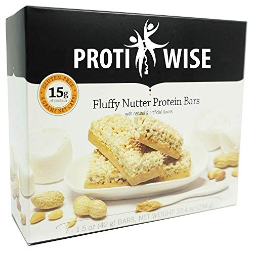 ProtiWise - Fluffy Nutter Protein Bars   7/Box   Gluten Free, Low Calorie, Low Carb, Low Fat, Low Sugar