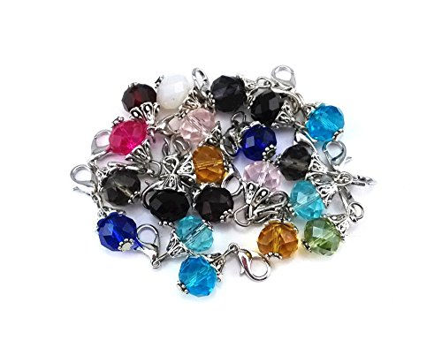 yueton 20pcs Assorted Color Crystal Dangle Charms Pendant with Lobster Clasp Jewelry Making Accessory Fit Floating Locket Charms Necklaces