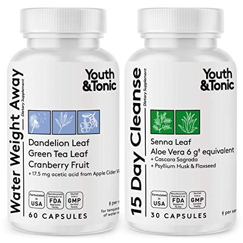 Water Pills & Colon Cleanse Kick off Weight Management | Natural Diuretic & Cleanser for Hips & Waist Line Reduction | Detox Cleanser Water Away Laxative for Bloating Relief Regularity Fluid Retention