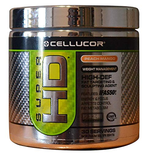Super HIGH-DEF Fat Sculpting Thermogenic Pre Workout Powder Peach Mango, 30 Servings