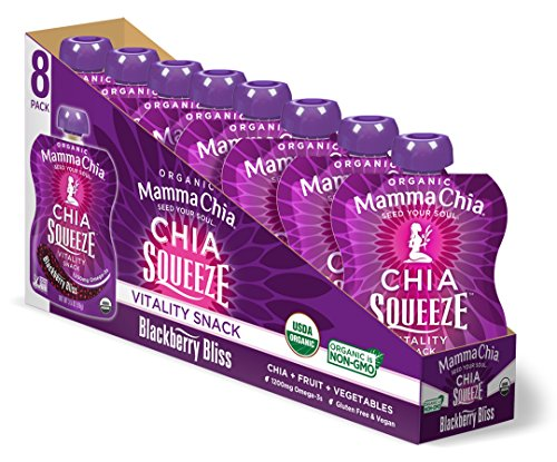 Mamma Chia Organic Vitality Squeeze Snack, Blackberry Bliss, 8 Count (Pack of 2)